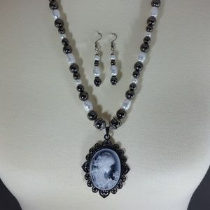 Dark Grey Cameo Necklace & Earrings